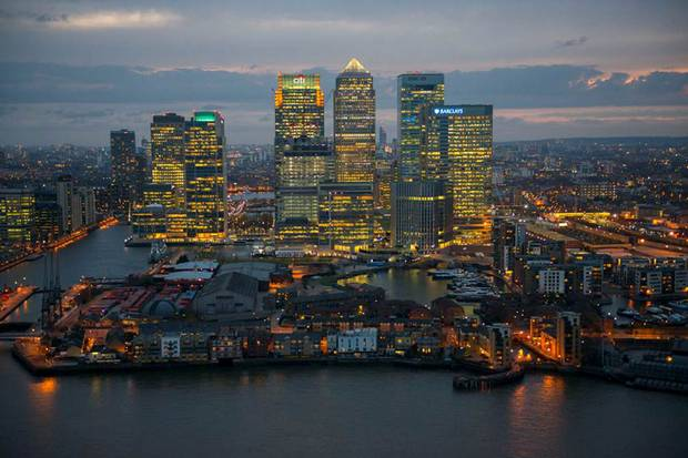 London's financial hub: Canary Wharf. Click to enlarge