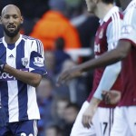 "West Bromwich Albion's French striker Nicolas Anelka with the alleged ""anti-Semitic"" gesture. Click to enlarge"
