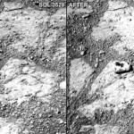Above: the rock (right) and the view taken by the rover just days before (left)