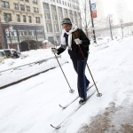 "Struggling with the effect of ""Global Warming""? A skier in New York City. Click to enlarge"
