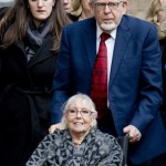 Rolf Harris attends Southwark Crown Court with his wife, in wheelchair, where he faces 12 sex offence charges. Click to enlarge