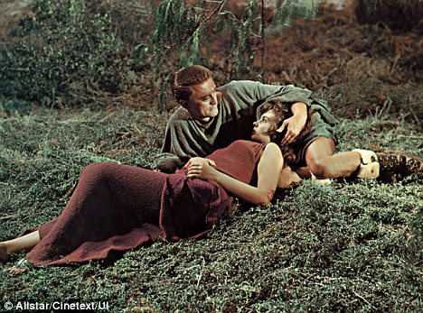 Spartacus played by Kirk Douglas & Slave Girl Varinia played by Jean Simmons. Click to enlarge