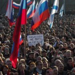 Thousands protest against Ukrainian upheaval on Sunday in the Ukrainian port city of Sevastopol, the main base of the Russian Black Sea Fleet, on February 23, 2014. Click to enlarge