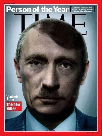 Putin demonised as the new Hitler in the Western media. Click to enlarge