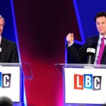 Nigel Farage (left) and Deputy Prime Minister Nick Clegg during the first debate. Click to enlarge