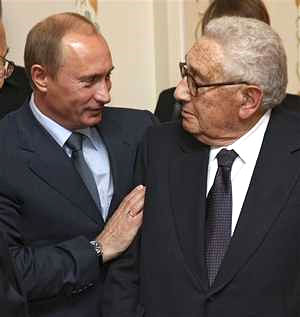 Kissinger and Putin at Russian leaders country house outside Moscow. Click to enlarge