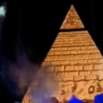 "Here's a pic taken from Miley's ""Bangerz Tour"". Yes, it's an Illuminati pyramid, complete with All-Seeing eye rising out of nowhere while young girls cheer frantically. That is today's pop culture."