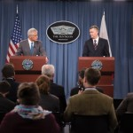 US Defense Secretary Hagel and Polish defense minister Tomasz Siemoniak make the announcement at a joint press conference in Washington. Click to enlarge