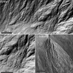 Debris flow in this Martian crater (top) was compared with similar formations at Svalbard, Norway. Click to enlarge