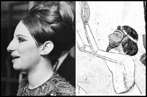 Above: These two illustrations make the point even more dramatically. On the left, the Ashkenazim Jewess, Barbara Streisand, New York, 1966. On the right, a Jewish leader of Israelite trade delegation as portrayed on a mural on the wall of the 18th Dynasty (1400 BC) Tomb of Sobekhotep, Thutmose IV; Egypt.