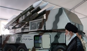 Ayatollah Ali Khamenei views the Third of Khordad Air Defence system. Click to enlarge