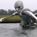 Transhumanist sculpture at the site of the Bilderberg conference 2013 at Grove Hall, Hertfordshire, England. Click to enlarge