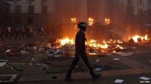Many pro-Russian protesters died when the Trade Unions building in Odessa. Click to enlarge