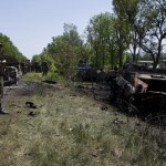 Scene of checkpoint massacre near Volnovakha, Ukraine. Click to enlarge
