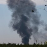 Smoke rises from the downed Ukrainian army helicopter Thursday
