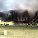 The Pentagon after it had supposedly been hit by Fight 77, which is notably absent from the photo. Click to enlarge