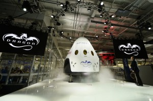 The new SpaceX Dragon capsule unveiled Thursday, May 29. Click to enlarge