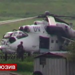 Screenshot from a video showing a white-painted Mil Mi-24 strike helicopter allegedly used by Kiev troops in their military operation against Donetsk regional militia. Click to enlarge