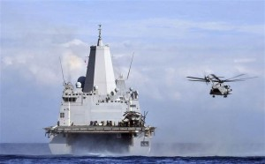 Amphibious transport dock shipp USS Mesa Verde is currently heading toward the gulf where it will join other ships, including aircraft carrier USS George W. Bush. Click to enlarge