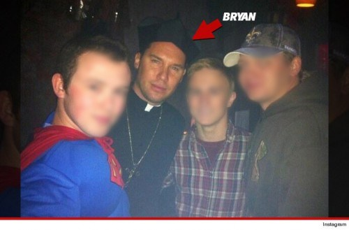 Bryan Singer at a party. Note the 'costume' he's wearing.