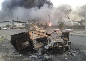 Abandoned and burned out Iraqi Army Humvee near Mosul. Click to enlarge
