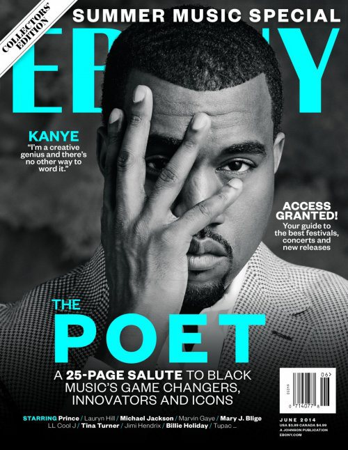 The June edition of Ebony released four covers dedicated to the top four Black entertainers. Coincidentally, they're pretty much the top four Black Illuminati pawns (Kanye West, Jay-Z, Beyonce and Rihanna). To make things even more blatant, Kanye hides one eye.