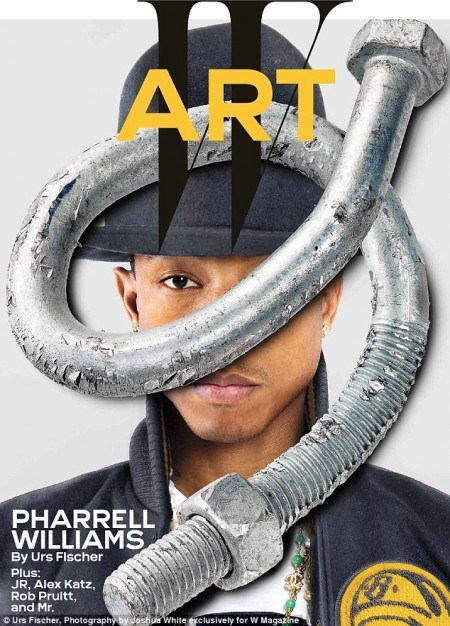 Here's Pharrell Williams in W magazine with one eye hidden by a screw thing. I guess they're running out of ways to hide one eye.