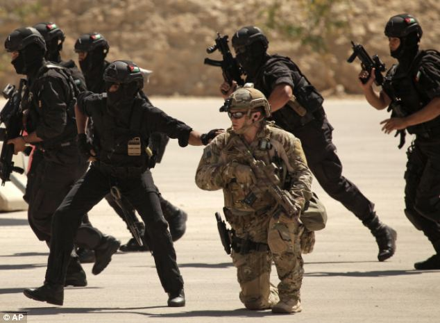 U.S. Iraqi and Jordanian Special Forces training at the King Abdullah Special Operations Training Center in Amman, Jordan, last year. Click to enlarge