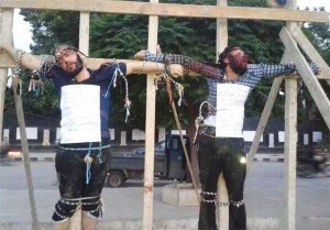 The Al-Qaeda offshoot, the Islamic State of Iraq and the Levant (ISIL or ISIS), crucified two Syrian citizens for the accusation that they have spoken against the ISIS. Click to enlarge