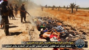 The bodies of Iraqi soldiers lie face down after allegedly being executed by the ISIS. Click to enlarge