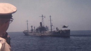 USS Liberty receives assistance from units in the 6th Fleet after being attacked by Israeli forces off the Sinai Peninsula on June 8, 1967. Click to enlarge