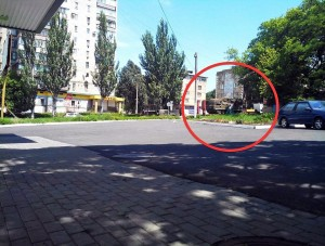 BUK missile system photographed in Torez hours before MH17 was downed. Click to enlarge