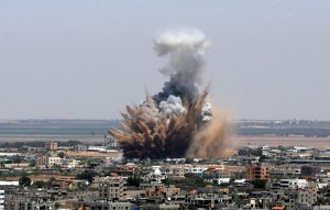 Israeli air strike on Gaza City. Click to enlarge