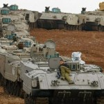 Israeli armour gathers near the Gaza Strip in preparation. Click to enlarge