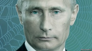 Illustration accompanying the Economist article on Putin entitled 'A Web of Lies'. Click to enlarge