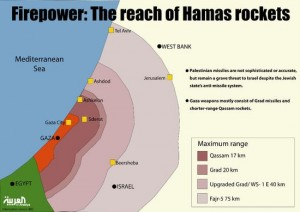 Reach of Hamas rockets. Click to enlarge