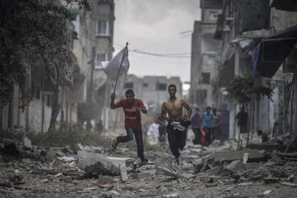 Scenes of devastation on the streets of Gaza after Iraeli bombardment