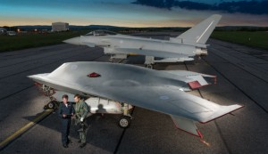 Taranis UAV (front) and a Typhoon (rear). Click to enlarge