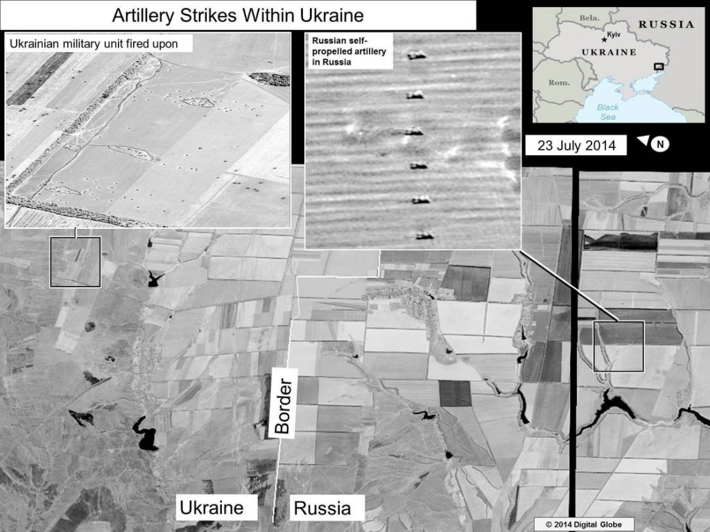 The U.S. has released image of what it says are of Russian artillary firing into eastern Ukraine. Click to enlarge