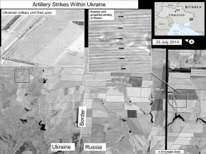 Image of what the U.S. claims are Russian artillary firing into eastern Ukraine. Click to enlarge