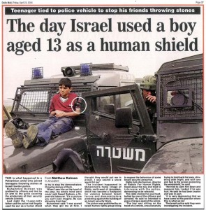 Daily Mail report on 'human shields'. Click to enlarge