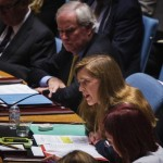 Former US Ambassador to the UN, Samantha Power addresses delegates. Click to enlarge