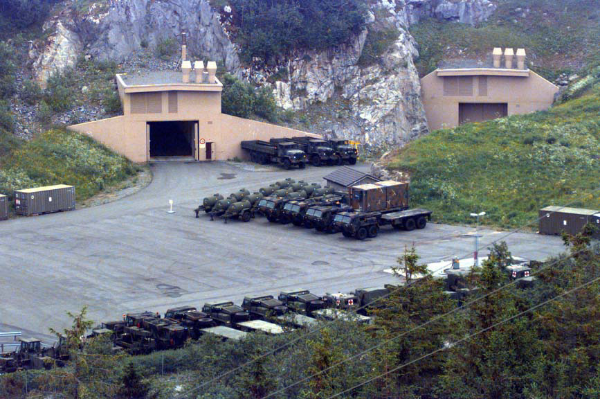 This 1997 aerial photograph shows the entrance to a cave facility the U.S. military uses in the Trondheim region of central Norway. (Defense Department photo courtesy of the National Archives). Click to enlarge