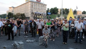 Activists during a gathering in Independence Square, Kiev. Click to enlarge