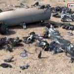 Still of the wreckage of the drone shot down broadcast by Iranian TV Sunday. Click to enlarge