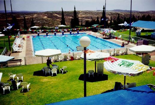 ARIEL, AN ILLEGAL SETTLEMENT IN THE WEST BANK, WITH ITS LUXURY SWIMMING POOL