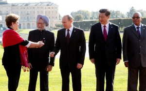 BRICS leaders: for the time being, China still allows Putin the center position. Click to enlarge