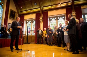 Prime Minister Cameron addresses and audience at Lerwick town hall on the first visit of a serving British Prime Minister to the remote island in over three decades. Click to enlarge