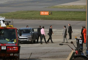 David Cameron steps out on the tarmac at Sumburgh airport, Shetland. Click to enlarge