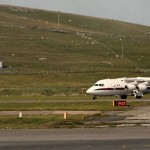 David Cameron's plane touches down at Sumburgh airport, Shetland. Click to enlarge
